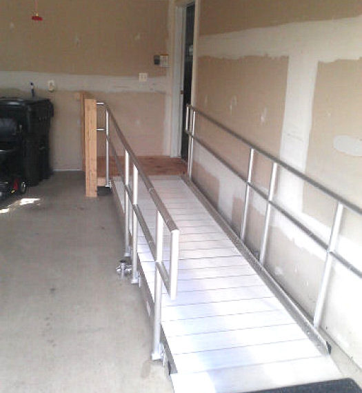 Custom ramp inside garage