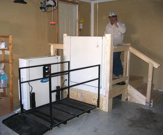 Platform lift in garage