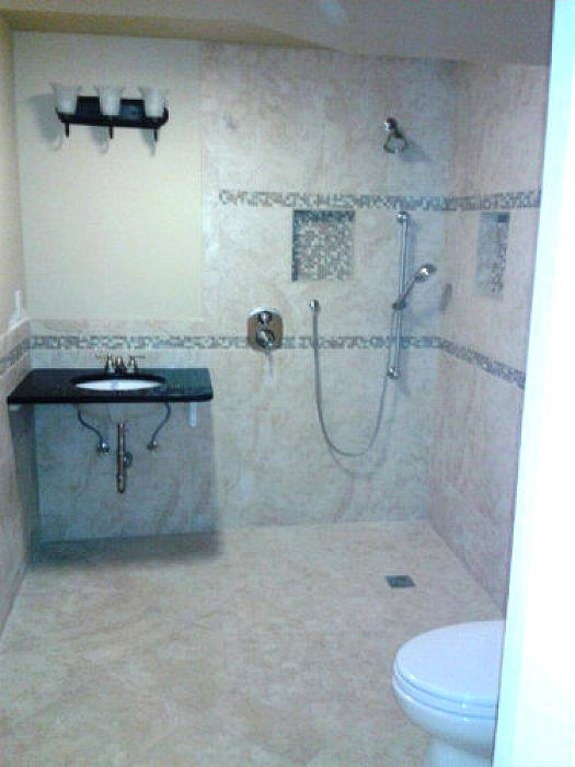 Curbless Showers make entry and exit into showers much easier